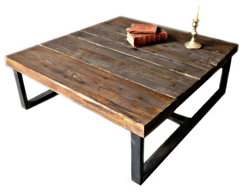 Industrial Chic Style Reclaimed Custom Coffee Table Steel And