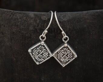 Silver Drop Earrings, Oxidised Earrings, Sterling Silver, Diamond Shape Earrings, Detailed Earrings