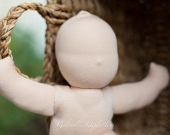 "Waldorf Blank Doll. Doll Body. 10"" (28-30cm). Cotton Doll Body. Stuffed Doll. Pre-Sewn Doll Body."