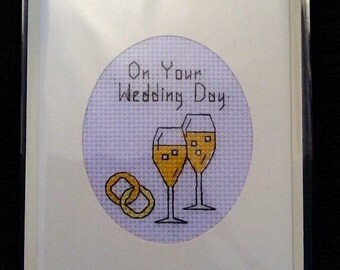 Lovely Handmade Cross Stitch On Your Wedding Day Card