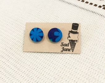 Fabric Covered Button Earrings BLUE FLOWERS