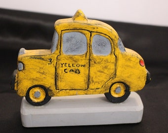 "Vintage Hand Carved Yellow cab titled ""Olde Yeller"" by LeRoy 1987 3 of 100"