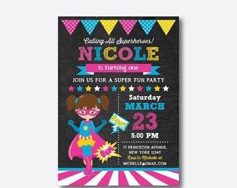 Superhero Birthday Invitation, Superhero Invitation, Superhero Girl Invitation, Superhero Party Invitation, Personalized,Chalkboard(CKB.273