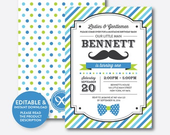 Instant Download, Editable Mustache Birthday Invitation, 1st Birthday Mustache Invitation, Little Man Invitation, Stripes Mustache (SKB.25B)