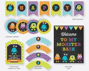 Instant Download, Monster Party Package, Monster Birthday Package, Monster Party Pack, Monster Printables, Monster Decor, Chalkboard(CKB.21)