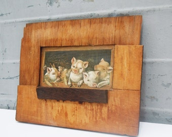 Piglets in their pen / Vintage Framed Picture /  Beat-up old Frame / Delaminated / Hung in 3 little Pigs House