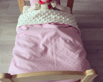 Doll Bedding - Flannel and Minky Quilt with matching Pillow Case