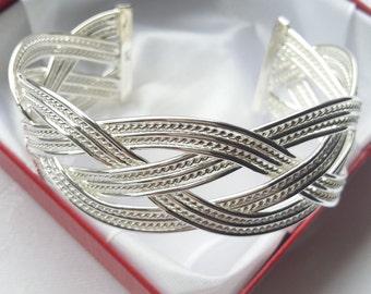 Geflochtener Armreif 925 Sterling Silber