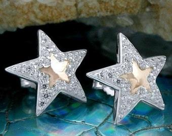Stylish Star Studs, silver 925 / Rosévergoldet