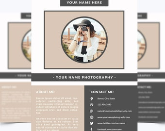 About Me + Portfolio Page Template 001 for Photoshop 8.5 x 11