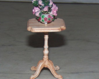 Vintage Bespaq Side Table. Painted and Glazed.  Includes Flower Arrangement of pink roses.