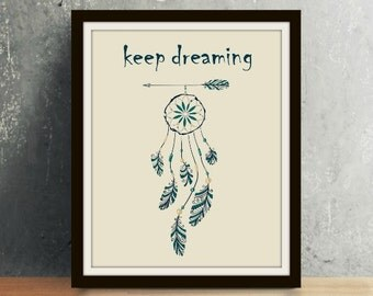 Western Series: Keep Dreaming - Western Art, Western Decor, Western Print, Western, Western Wall Art, Dreamcatcher, Keep Dreaming