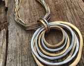 silver brass multi-chain adjustable pendant choker, large circle pendant choker, large geometric pendant, multi-chain necklace, gift for her