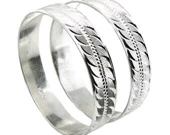 "Karizmatic 925 Sterling Silver Bangles Bracelet (Kangan) - Pair 2.8"""