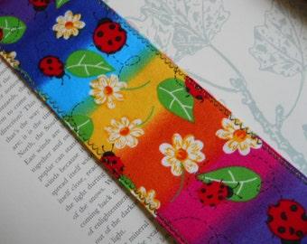 Ladybugs and Flowers Fabric Bookmark