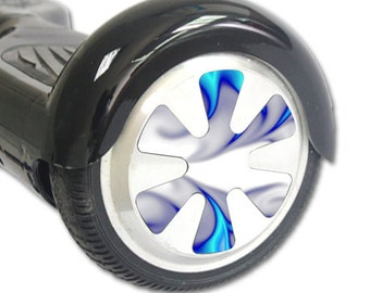 Skin Decal Wrap for Hoverboard Balance Board Scooter Wheels Blue Fire