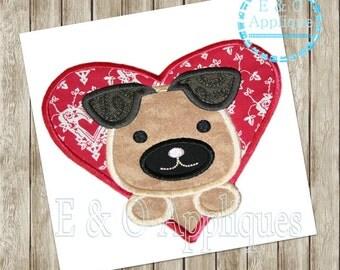 Puppy Heart Applique Design - Puppy Love Applique Design - Valentine Applique Design - Puppy Applique Design