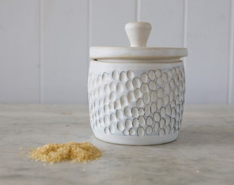 Sgraffito Sugar Bowl in Sand with Dots
