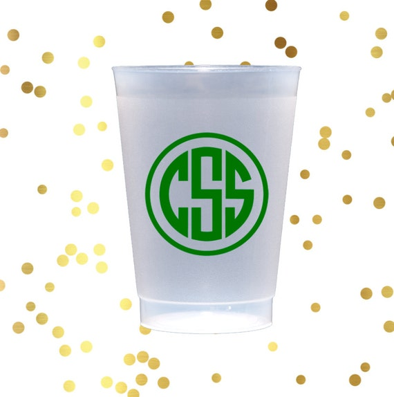 monogram shatterproof cups, personalized cups, party cups, monogrammed frosted cups, wedding cup favors