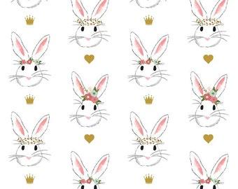 Riley Blake Fabric-Wonderland Fabric-White Wonderland-Fabric by the Yard-Bunny Fabric-Alice in Wonderland-Metallic Fabric-Modern Fabric