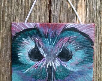 Mini Acrylic Painting of a Blue Owl