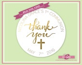 Personalized Foiled Thank You Stickers - Communion