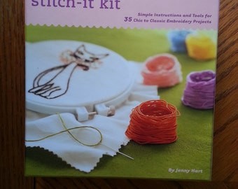 Embroidery kit/ eiffel tower decor /tea towel / kitty cat / tecup / french poodle / hula girl /heart decoration/ Stitch It Kit by Jenny Hart