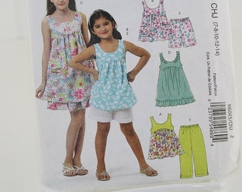 Girls Pullover Top and Pants, UNCUT Sewing Pattern, McCall's 6065 - Size 7-14