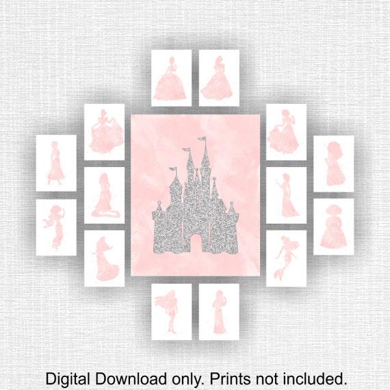 Arthouse Glitter Detail Kids Girls Bedroom Wallpaper: Disney Wall Art Castle Silver Glitter And Princess Pink