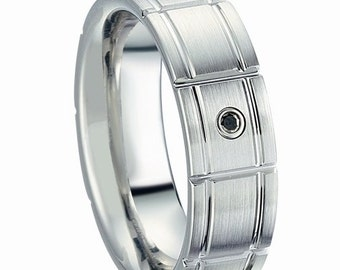 WEDDING BAND .cobalt with black diamond 0,03 ct 7 mm made in USA