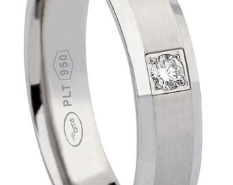 platinum wedding band with 0.04 ct vs -f diamond  5 mm