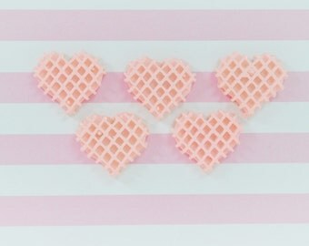 23mm Kawaii Pastel Pink Heart Shaped Waffle Miniature Food Flatback Resin Decoden Cabochon - 5 piece set