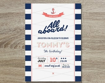 Nautical Birthday Invitation Printable // 5x7 Navy and Coral Striped Nautical Invite - Boys Birthday - Nautical Birthday Party - All Aboard