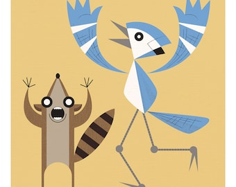 Regular Show: Mordecai and Rigby print 11x11