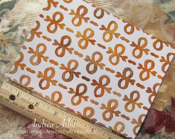 """Pattern Lacey in Orange & Brown - 5""""x7"""" Watercolor Painting"""