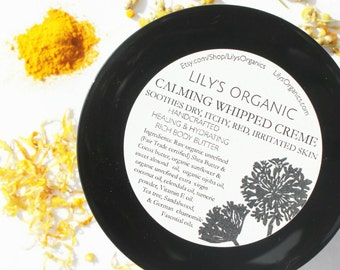 Lily's Organic Whipped Crème for Psoriasis, Eczema & Dermatitis. Handcrafted Healing, Hydrating Rich Body Butter