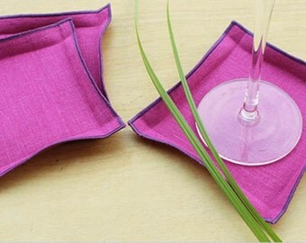 Fabric Coasters,  Linen Drink Coasters, Orchid Coasters, Purple Wedding, Party  Coasters, Custom Coasters, Choose your trim, set of 4