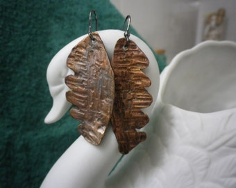 Hand forged textured leaf earrings