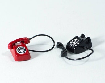 Vintage Rotary Telephone Miniature, Mini Telephone, Dollhouse Telephone, Red Telephone, Black Telephone