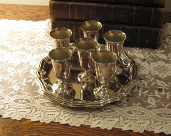 de Uberti Silverplate Liquor Glasses and Tray Set, Made in Italy