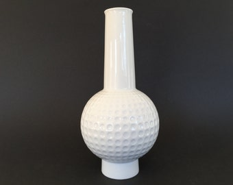 AK Kaiser 65 Op Art  white porcelain Mid Century Modern Space Age,  unusual   1960s   relief vase Germany.
