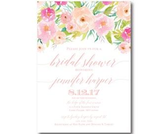Floral Bridal Shower Invitation, Floral Wedding, Watercolor Flowers, Watercolor Floral, Shower Invitation, Bridal Shower Invitation #CL131