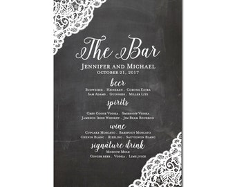 Drink Menu Sign Bar Menu Wedding Sign Wedding Bar Menu