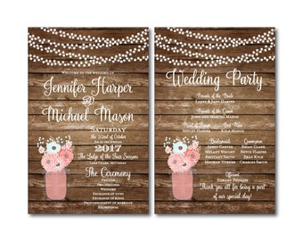 Rustic Wedding Programs, Mason Jar Wedding Programs, Wedding Ceremony Programs, Rustic Wedding, Order of Ceremony, Order of Service #CL221