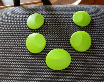 One or Lot of 5 Large Chartreuse Silicone Flat Beads