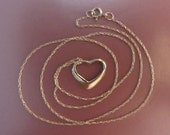 "14k Gold Open Heart With A New 14k Gold Chain 16"" - 1.08g"