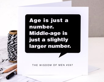 Funny Birthday Card For Men; 'Age Is Just A Number'; 40th Card For Husband; 50th Birthday Card For Dads; Card For Him; GC108