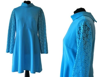 1960's Blue Shift Dress with Lace Sleeves // Vintage Cyan Blue Dress // Vintage 60's Blue Dress