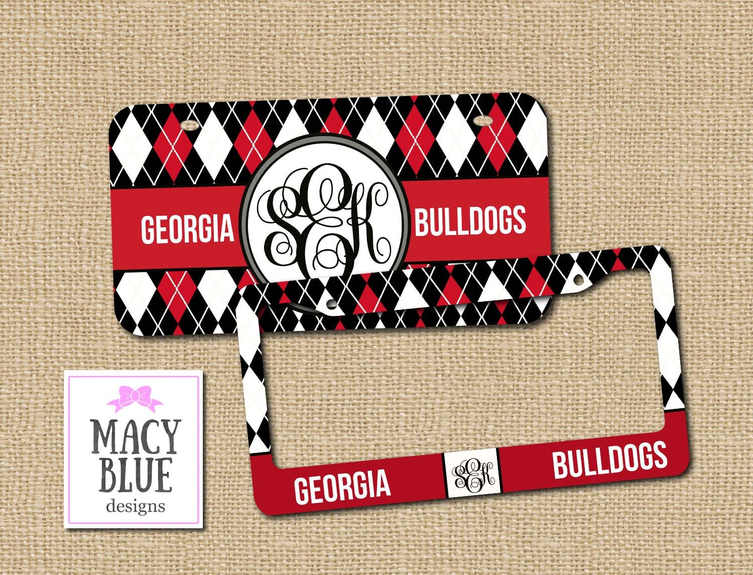 red and black license plate monogram license car tag new car gift texas tech georgia bulldogs license plate frame - Monogram License Plate Frame