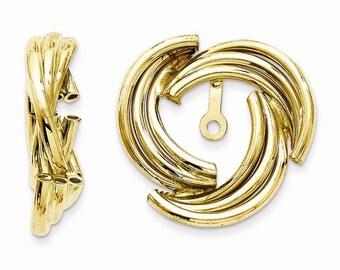 14K Yellow Gold Polished Fancy Earring Jackets LKQT573J